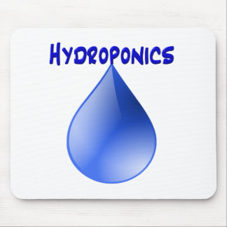 Hydroponics blue letters with blue drop graphic mouse pads