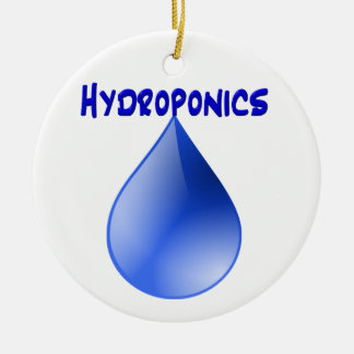 Hydroponics blue letters with blue drop graphic Double-Sided ceramic round christmas ornament