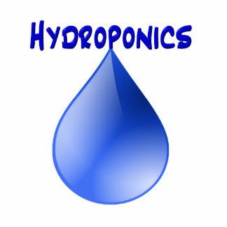 Hydroponics blue letters with blue drop graphic photo sculpture
