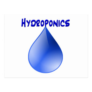 Hydroponics blue letters with blue drop graphic postcard