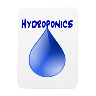 Hydroponics blue letters with blue drop graphic rectangular magnet