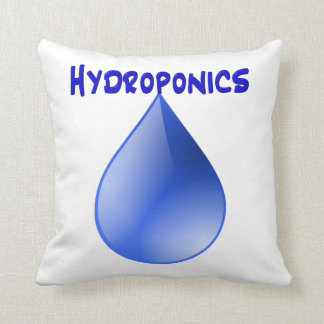 Hydroponics blue letters with blue drop graphic throw pillow