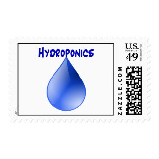 Hydroponics-blue text and blue water drop postage stamp