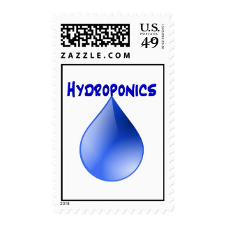 Hydroponics-blue text over blue water drop design stamp