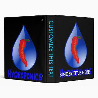 Hydroponics, chili pepper, blue text design 3 ring binder
