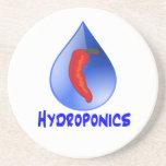 Hydroponics, chili pepper, blue text design coasters