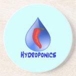 Hydroponics, chili pepper, blue text design drink coaster