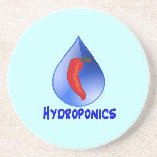 Hydroponics, chili pepper, blue text design drink coasters