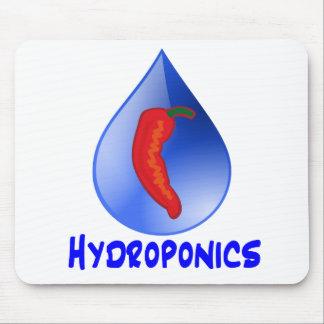 Hydroponics, chili pepper, blue text design mouse pad