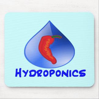 Hydroponics, chili pepper, blue text design mousepads