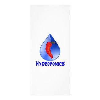 Hydroponics, chili pepper, blue text design rack card