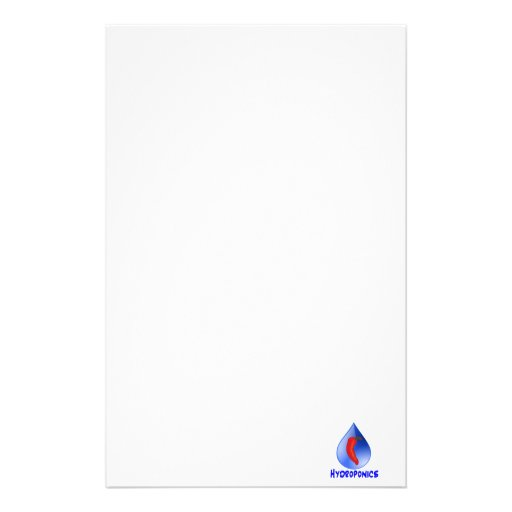 Hydroponics, chili pepper, blue text design stationery paper