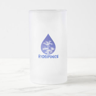 Hydroponics design , blue drop and white tree 16 oz frosted glass beer mug