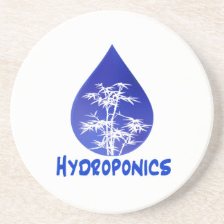 Hydroponics design blue drop and white tree coasters