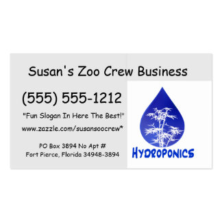 Hydroponics design , blue drop and white tree Double-Sided standard business cards (Pack of 100)