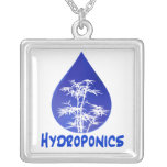 Hydroponics design , blue drop and white tree custom necklace