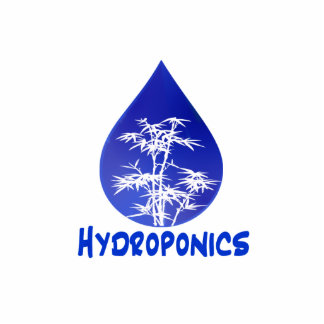 Hydroponics design , blue drop and white tree cut out