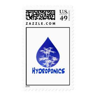 Hydroponics design , blue drop and white tree stamps