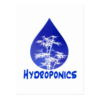 Hydroponics design , blue drop and white tree postcard