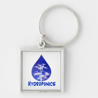 Hydroponics design , blue drop and white tree Silver-Colored square keychain