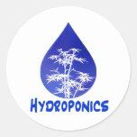 Hydroponics design , blue drop and white tree sticker