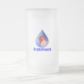 Hydroponics Design with strawberry Blue drop 16 Oz Frosted Glass Beer Mug