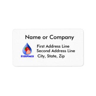 Hydroponics Design with strawberry Blue drop Label