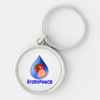 Hydroponics Design with strawberry Blue drop Silver-Colored Round Keychain