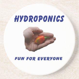 Hydroponics Fun Habanero Pepper in Hand Design coaster