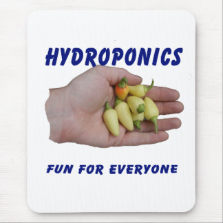 Hydroponics Fun White Habanero Peppers Hand Mouse Pad