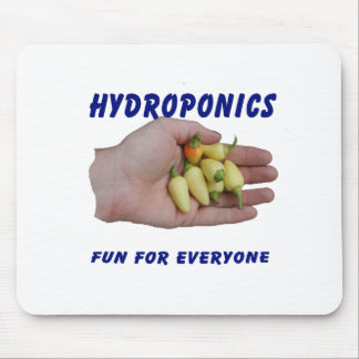 Hydroponics Fun White Habanero Peppers Hand Mouse Pads