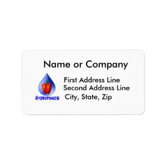 Hydroponics graphic, hydroponic pepper & drop address label