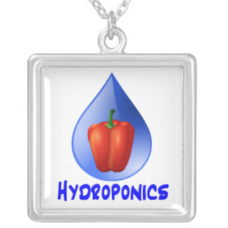 Hydroponics graphic, hydroponic pepper & drop square pendant necklace