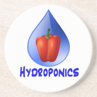 Hydroponics graphic, hydroponic pepper & drop sandstone coaster