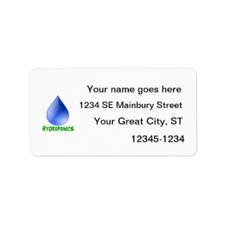 Hydroponics green text blue drop label