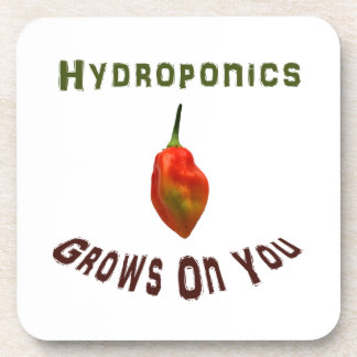 Hydroponics grows on you, single habanero pepper beverage coaster