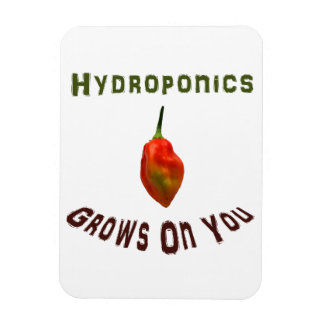 Hydroponics grows on you, single habanero pepper vinyl magnet