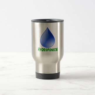 Hydroponics in green text with blue water drop 15 oz stainless steel travel mug