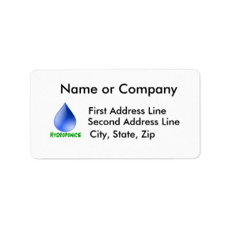 Hydroponics in green text with blue water drop address label