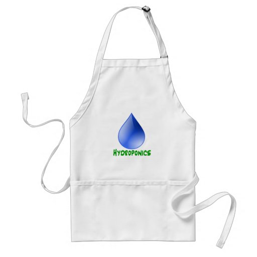 Hydroponics in green text with blue water drop apron