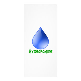 Hydroponics in green text with blue water drop custom rack cards