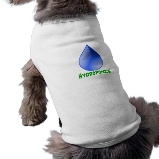 Hydroponics in green text with blue water drop pet t-shirt