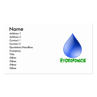 Hydroponics in green text with blue water drop Double-Sided standard business cards (Pack of 100)