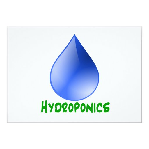Hydroponics in green text with blue water drop 5x7 paper invitation card