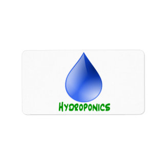 Hydroponics in green text with blue water drop label
