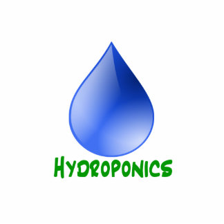 Hydroponics in green text with blue water drop photo cutouts