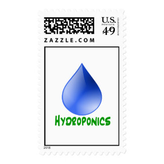 Hydroponics in green text with blue water drop postage stamps