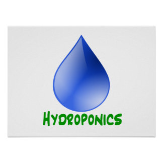 Hydroponics in green text with blue water drop poster