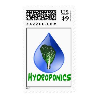Hydroponics Leaf lettuce blue drop green text Postage