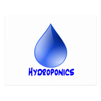 Hydroponics logo water drop and text image post cards